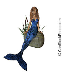 Blue Mermaid Sitting On A Rock - Blue mermaid sitting on a...