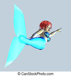 Blue mermaid with red hair