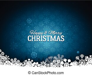 Blue Merry Christmas Background With Snowflakes
