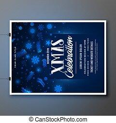 blue merry christmas celebration flyer template design