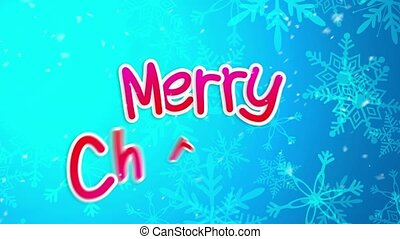 Blue Merry Christmas Greeting Art Paper Card 2015