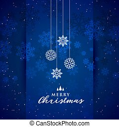blue merry christmas snowflakes festival background design