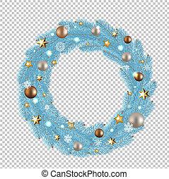 Blue Merry Christmas Wreath