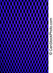 Blue metal grill of diamond shaped mesh, against black.
