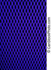 Blue Mesh - Blue metal grill of diamond shaped mesh, against...