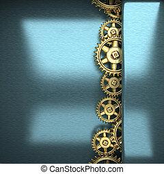 blue metal background with cogwheel gears