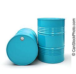 Blue Metal barrels isolated on white background illustration
