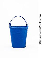 blue metal bucket decorative isolated on white background