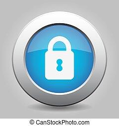 blue metal button closed padlock