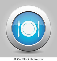 blue metal button - fork and knife with plate