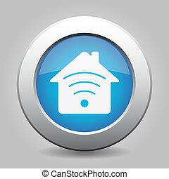 blue metal button - house with signal