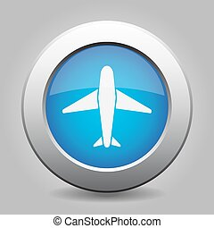 blue metal button with airplane