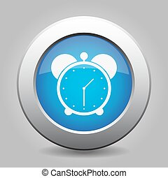 blue metal button with alarm clock