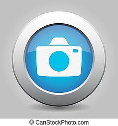 blue metal button with camera