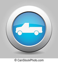 blue metal button with car