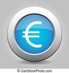 blue metal button with euro currency symbol