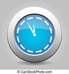 blue metal button with last minute clock