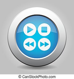 blue metal button with music control buttons
