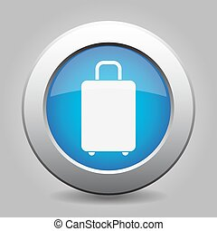 blue metal button with suitcase