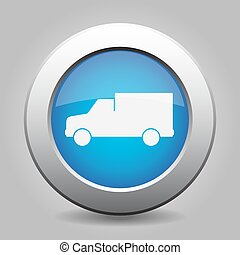 blue metal button with van icon