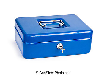 Blue metal cash box isolated on white background.