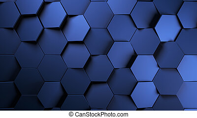 blue Metal futuristic hexagons background.3d render illustration