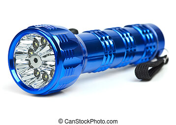 Blue metal LED flashlight isolated on the white background