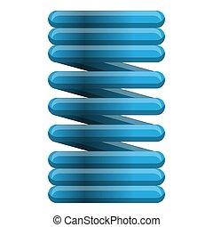 Blue metal spring icon, cartoon style