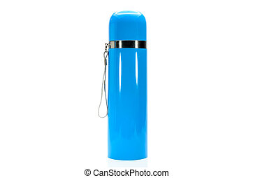 blue metal thermos isolated on white background