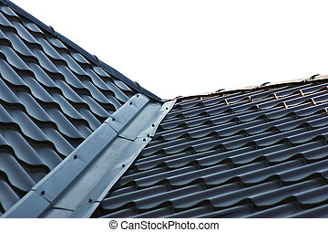 blue metal tile roof isolated on white background