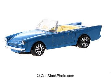 blue metal toy car