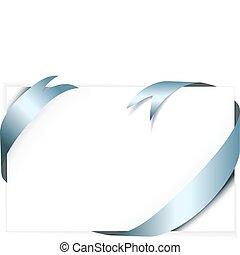 Blue metal vector ribbon around blank white paper