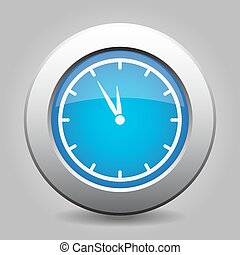 blue metallic button, white last minute clock icon