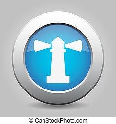 blue metallic button, white lighthouse icon