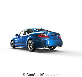 Blue Metallic Car Perspective View