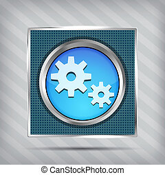 blue metallic icon with gear on knob on striped background