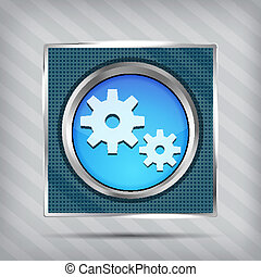 blue metallic icon with gear