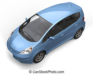 Blue metallic modern compact car - top view