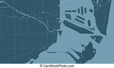 Blue Miami city area vector background map, streets and water cartography illustration.
