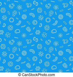 Blue microbiology vector outline seamless pattern - Blue...