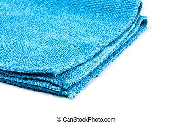 blue microfiber duster closeup