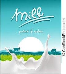 blue milk design with milk splash, farm animal and sunset - vector illustration