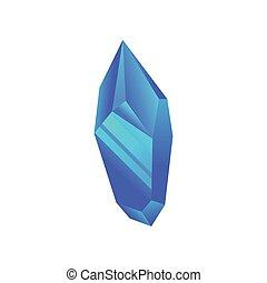 Blue mineral, crystal, gem, precious gemstone or semiprecious stone vector Illustration on a white background