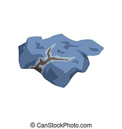 Blue mineral stone, geological industry element vector Illustration on a white background