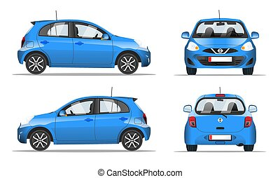 Blue mini car side, front and back view, flat style. Template for web site, mobile application and advertising banner. Car isolated on a white background, vector.