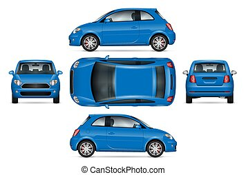Blue mini car vector illustration.