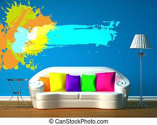 blue minimalist living room