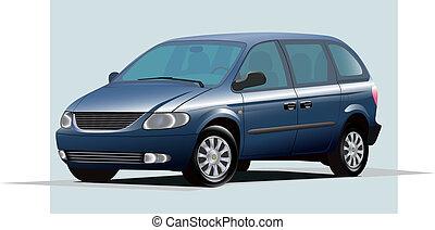 blue minivan - Isolated graphic illustration of modern blue...