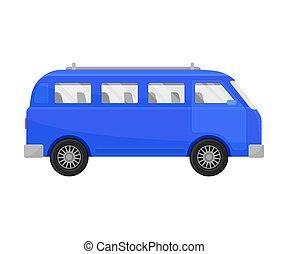 Blue minivan. Vector illustration on a white background.