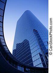 Blue mirror glass facade skyscraper buildings city of ...